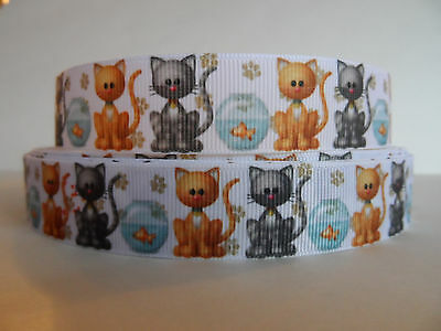 Grosgrain Ribbon,  Kitty Cats with Fish Bowls & Paw Prints, 7/8