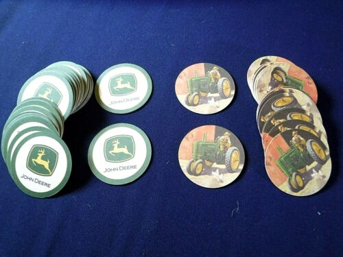 John Deere Farm Tractor Absorbent Double Sided Beverage Coasters Lot Of 62 New