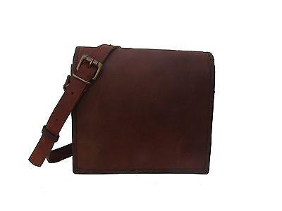 Men's Genuine Vintage Brown Leather Messenger Shoulder Full Flap Bag Briefcase