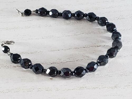 Black Onyx Beaded Alternating Seed Bead Faceted Bracelet