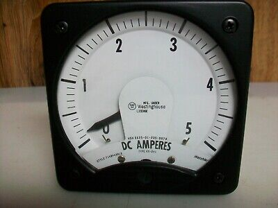 Westinghouse 4 12 X 4 12 0-5 A . Dc. Panel Board Meter