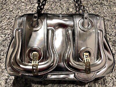 FENDI Silver Patent Leather B Bag