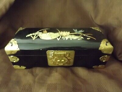 Used, VINTAGE CHINESE LACQUER WARE & MOTHER OF PEARL INLAY LARGE JEWELLERY BOX for sale  Shipping to South Africa