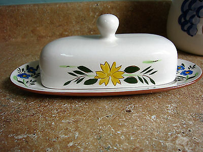 Stangl Country Garden Covered Butter Floral Yellow Blue Brown Clay Inside Carved