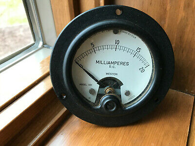Vintage Weston Panel Meter 0-20 Dc Milliamperes Gauge Model 1301 Steampunk