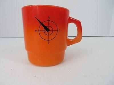 Vtg Fire King Cup Mug Northwestern Bank Orange Ombre Pre 1985 #7996
