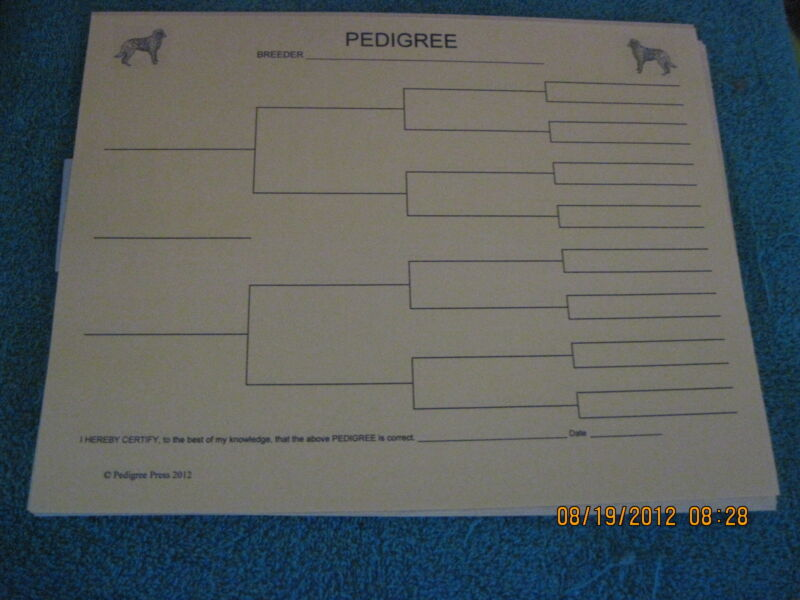 Otterhound Blank Pedigree Sheets Pack 10