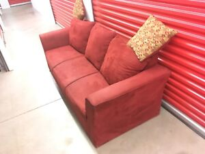 Red Velvet Couch ***Free Delivery***
