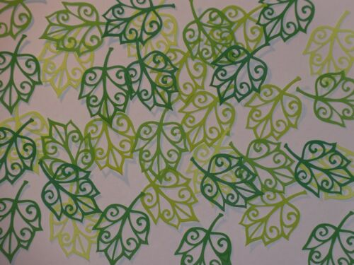 "35 green silhouette leaves in 5 shades of green   2""  die cuts"