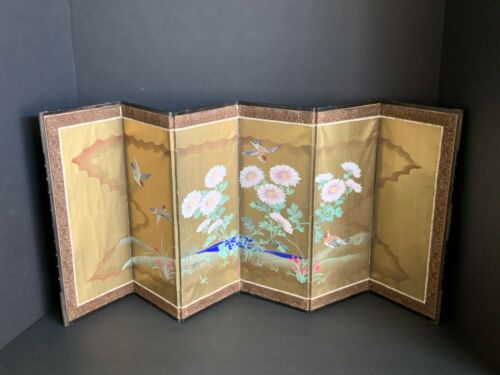 Antique Japanese Hand Painted Sparrows Table Screen (Q1 )