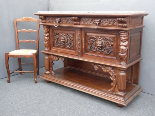 Vintage French Renaissance Ornately Carved Marble Sideboard Buffet ~ Indonesian