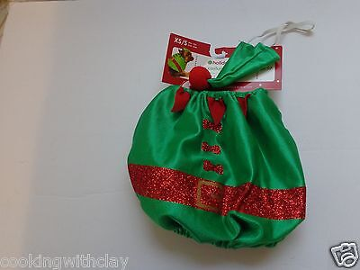 2 PC CHRISTMAS  GREEN & RED  HOLIDAY  ELF  PUPPY DOG COSTUME  OUTFIT   COSTUME