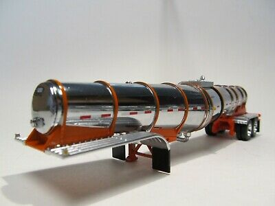 DCP FIRST GEAR 1/64 SCALE POLAR DROP CENTER TANKER CHROME ORANGE BANDS & FRAME