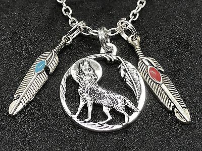 Native Americans Feathers - Native American Wolf Circle & Feathers Charm Tibetan Silver 18