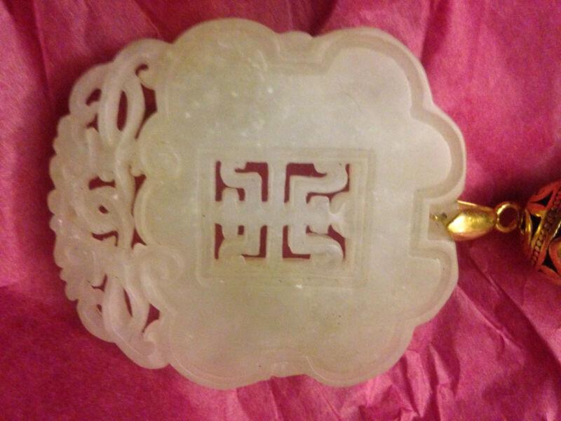 Longevity in Celadon Qing HeTian Nephrite Jade with Amber, Carnelian