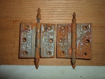 antique cast iron steeple hinges, Eastlake  / Victorian period # 5