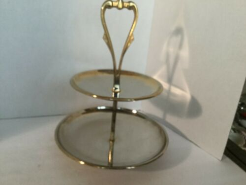 2 Tier Appetizer Desert Serving Tray Stainless Chrome Mid Century Modern Vintage