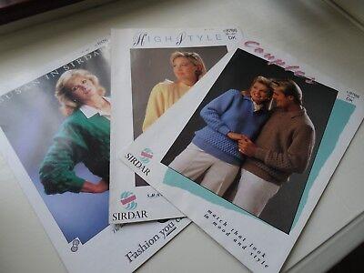 3 VINTAGE SIRDAR LADIES/COUPLES KNITTING PATTERNS NO. 8786, 8788 & 8176
