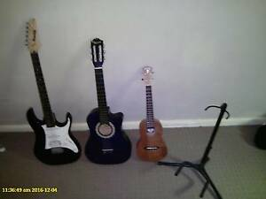 Ibanez Gio electric guitar, accoustic guitar and  Ami Ami ukulele Wayville Unley Area Preview