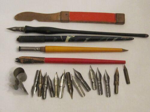 Four Vintage Calligraphy Fountain Dip Pens & Sixteen Various Size Nibs