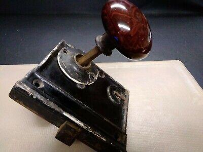 ANTIQUE MARBLED BROWN PORCELAIN CERAMIC DOOR KNOBS WITH LOCK