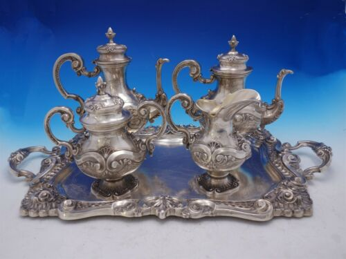 Portuguese .833 Silver Tea Set 5-Piece with Shell Motif (#4567)