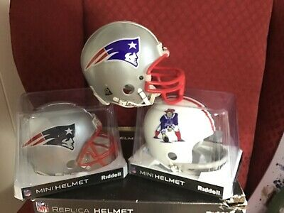 New England Patriots 3 mini helmet collection with boxes lot  New England Patriots Collectibles