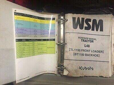 Used Kubota L48 Tractor Loader Backhoe Workshop Service Repair Manual Wbinder
