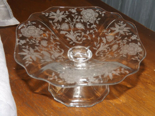 Cambridge Wildflower Etched Clear Glass Compote