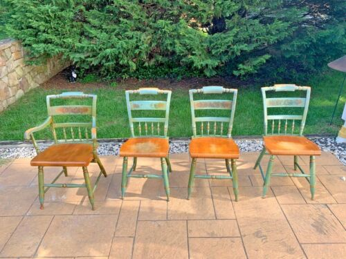 Set of 4 Vintage Hitchcock Painted & Stenciled Chairs - 1 Arm and 3 Side Chairs