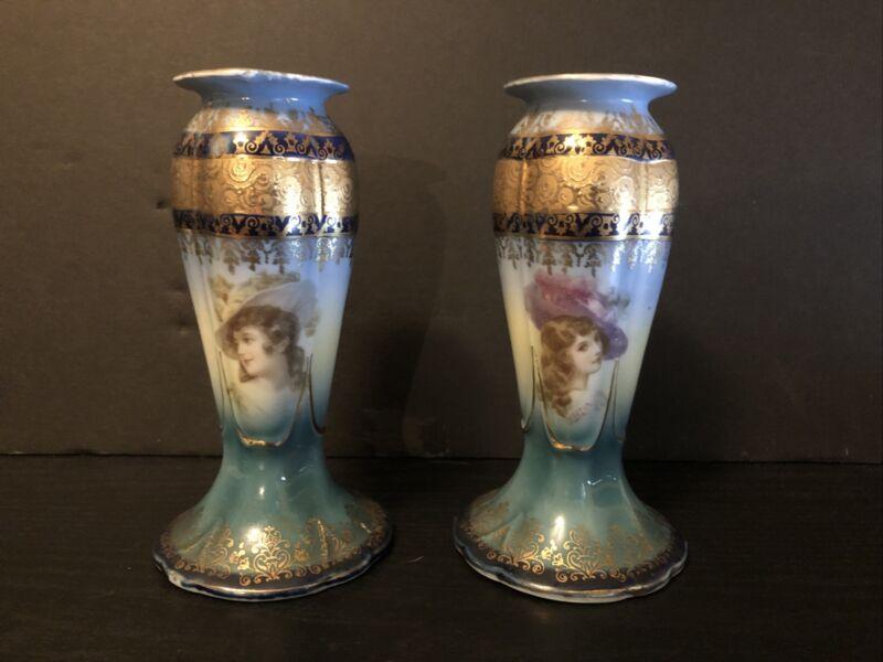 """BEAUTIFUL WOMEN TAPER CANDLESTICKS HOLDER GOLD GILT ART NOUVEAU PORCELAIN 6"""""""