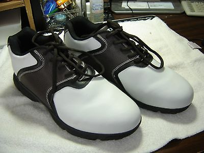 Mens Wilson Ultra BLK Soft Spike Leather Golf Shoes/Sz.10D/Brown & White/NEW WOB