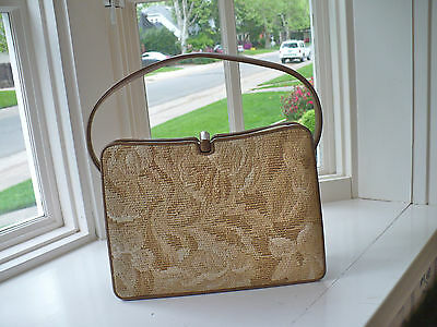 VINTAGE NETTIE ROSENSTEIN TAPESTRY PURSE-HANDBAG-MADE IN FLORENCE ITALY