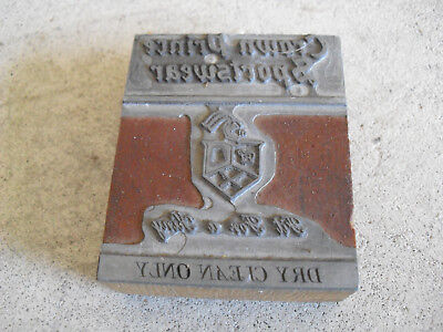 Vintage Crown Prince Sportswear Wood Metal Letterpress Print Block Stamp
