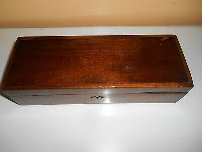 antique mahogany glove box ideal for chess set or jewelry; relined