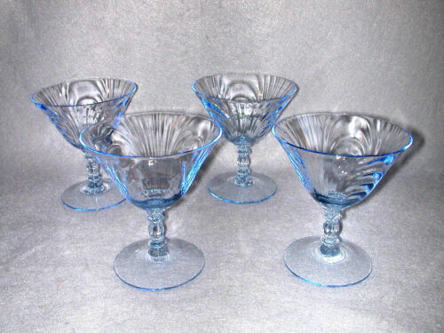 Set Of 4 Cambridge Caprice Moonlight Blue Low Stemmed Sherbet Glasses 4 1/4""