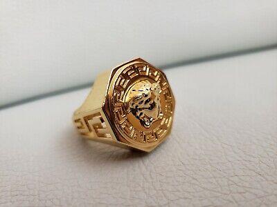 Versace Men's Women's Gold Medusa Greek key Logo Polygon Hexagon Ring US 9.5 10