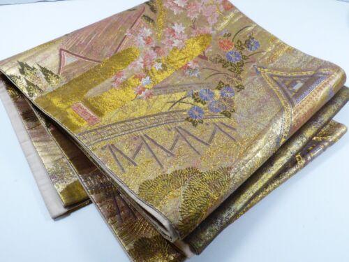 "Gold color Kimono Silk Tapestry Fukuro Obi Hand Made for dress 171"" x 12"" Japan"