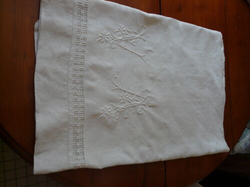 Antique French Linen Sheet Pure Linen White Embroidery Large Monogram VA