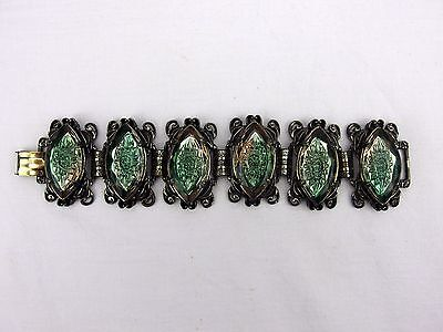 Victorian Wide Six Panel Marquis Faceted  Bracelet Scroll Work