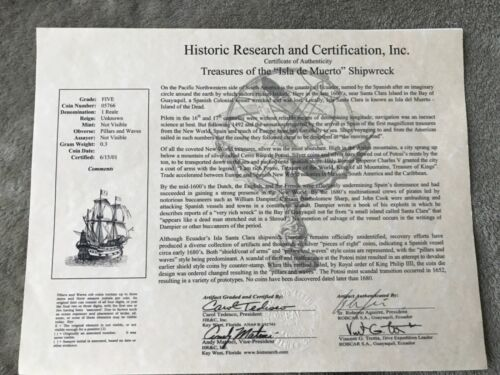 isla de Muerto shipwreck coin