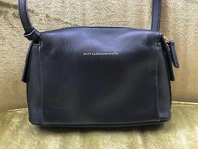 WANT Les Essentiels De La Vie City Bag, Black Leather, Crossbody/Shoulder