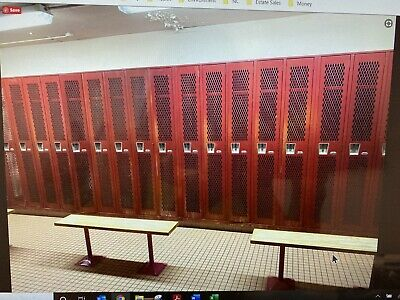 Vintage Red Metal School Industrial Gym List Industries Lockers