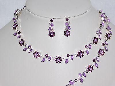 3PC Purple Rhinestones Flower Set Including Necklace, Earrings & Bracelet