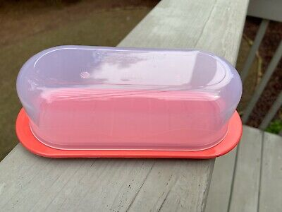 2020 Tupperware Impressions Coral Color Butter Cheese Dish w/Clear Cover 50% OFF