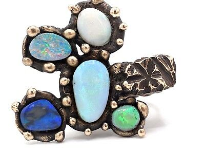 American Modernist ADAM-VINCENT Golden BRONZE Rock Form OPAL CLUSTER Ring Sz 6