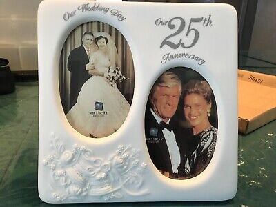 Russ Berrie 25th Anniversary Picture Frame #15955 wedding photo frame Porcelain 25th Anniversary Picture Frame