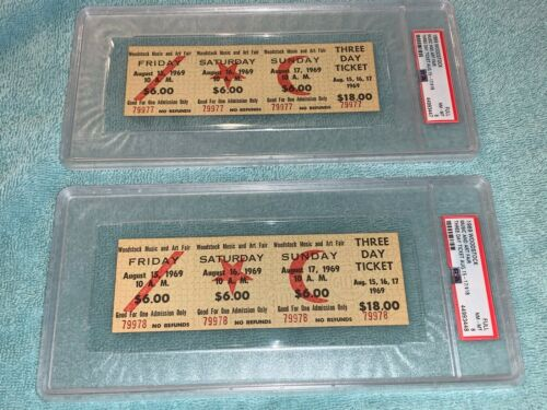 2 PSA WOODSTOCK 1969 MAIL ORDER $18 ORIGINAL 3 DAY PASS TICKETS Jimi Hendrix USA