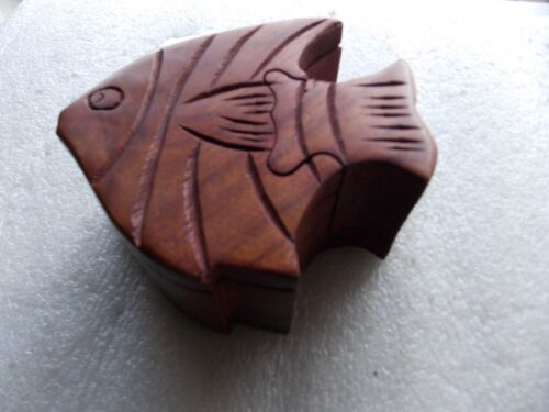 Carved Wood Angel Fish Puzzle Box for Jewelry or Trinkets