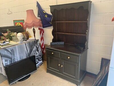 Old Vintage Wooden Dresser Dark Wood Needs Some TLC Good Project Two Piece Wood